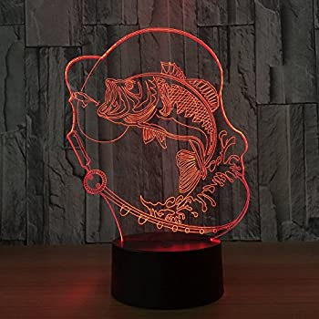 Circle Circle Bubble Fish 3D Optical Illusion Lamp 7 Colors Change Touch Button and 15 Keys Remote Control LED Table Desk Lamp for Home Bedroom Decoration