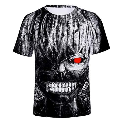 - Short Sleeve Kaneki Ken Digital Printing Tokyo Ghoul Casual Unisex T-Shirts Tops Sports Costume Summer Beach Tee (Including Child Size),B,XXXXL