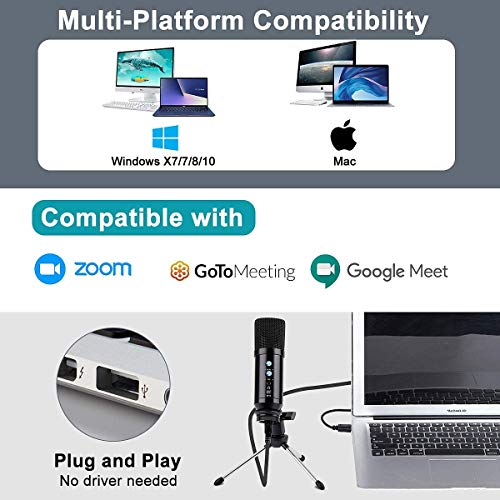 USB Microphone for Computer,CASTRIES Condenser Recording PC Microphone for Mac & Windows,Professional Plug&Play Studio Microphone for Gaming, Podcast,Chatting, YouTube Videos,Voice Overs and Streaming