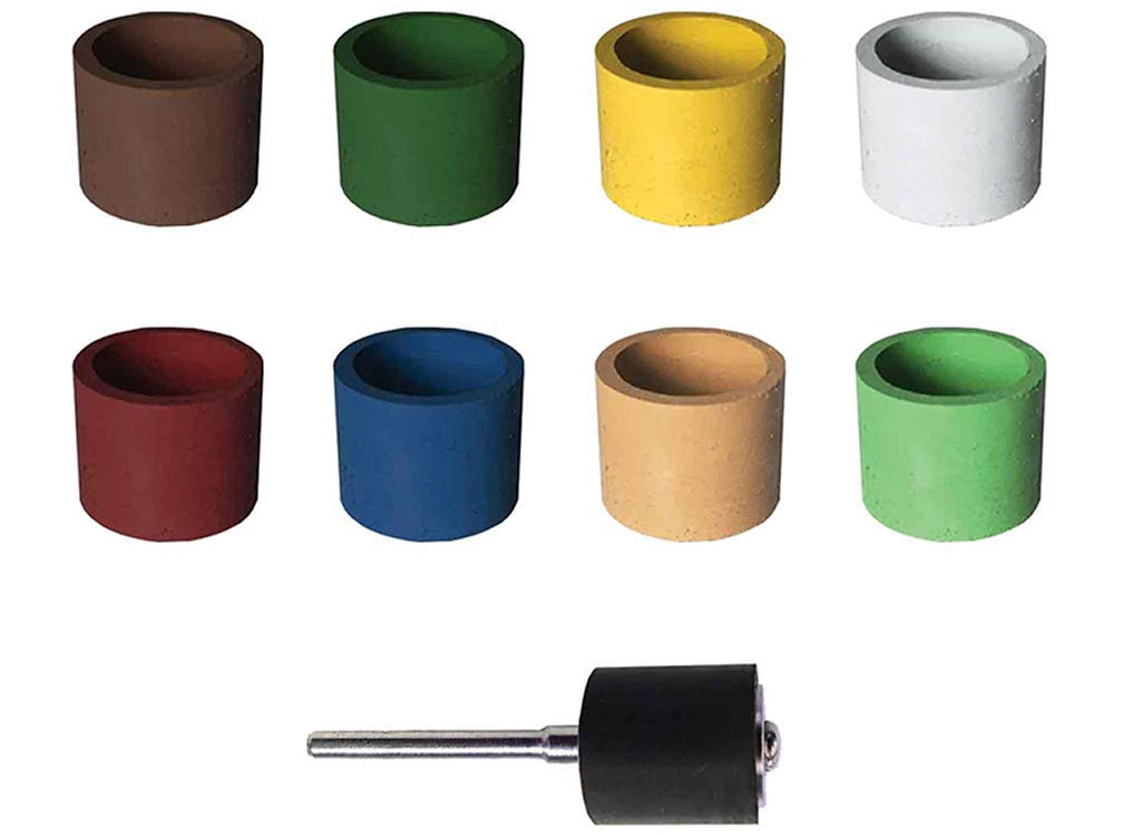 Dedeco Sunburst - 1/2''x1/2'' Bands - Precision Cylinder Thermoplastic Rotary Sanding and Polishing Tool Set, Assorted: 1 Each 8 Grit Textures Plus 1835 Mandrel (9 Piece)