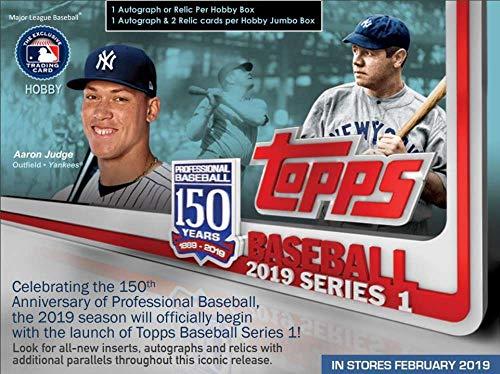 2019 Topps Series 1 Baseball Jumbo Box (1 Auto, 2 Relics, 2 Silver Packs) ()