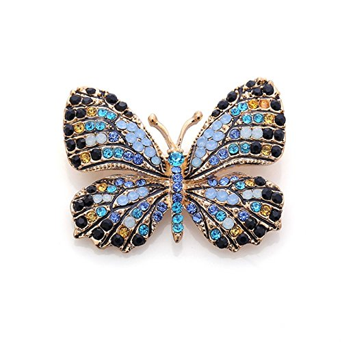 Fashion Jewelry Colorful Rhinestone Butterfly Brooches Alloy Enameled Animal Brooch Pin Apparel Accessories No.3