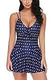 ADOME Women Swimwear One Pieces Swimsuits Polka Dot Shaping Ruffled Hem Swimdress Navy Blue L