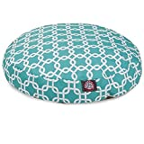 Teal Links Large Round Indoor Outdoor Pet Dog Bed With Removable Washable Cover By Majestic Pet Products by Majestic Pet