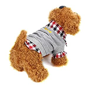 Wakeu Pet Dog Clothes Soft Warm Plaid Polar Fleece Winter Clothes Costume Winter (Grey, S)