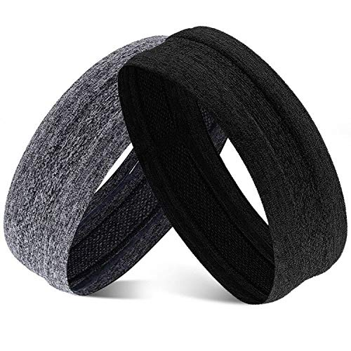 Obacle Headband Sweatband Non Slip Headbands Thin Lightweight Breatheable Durable High Elastic Head Band for Men Women Outdoor Sports Running Jogging Hiking Exercising Yoga Workout, 2 Pack