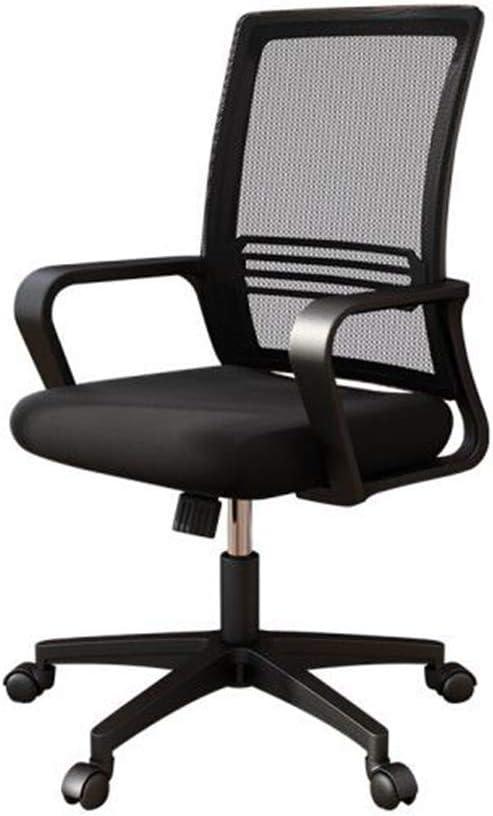 アームレスト付きのオフィスチェア、調節可能な背もたれ付き人間工学に基づいたスイベルホームゲーミングブラックシート