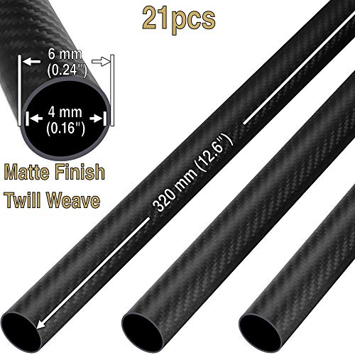 (21(pcs) ComeTrue 6mm x 4mm x 320mm Length Matte Twill Weave 3K Carbon Fiber Roll Wrapped Tube Pipe (Approx. 0.24