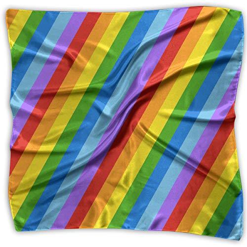 Diagonal Stripe Scarf - Square Scarf Rainbow Diagonal Stripes Handkerchief Unisex Bandanas Tie For Man