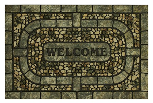 Mohawk Home Doorscapes Garden Pebbles Gray All All Weather Rubber Durable Non Slip Entry Way Indoor/Outdoor Welcome Door Mat 23 x 35 Inch