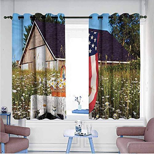 SAMEK Waterproof Window Curtains,Americana Green Apples Daisies USA,Blackout Draperies for Bedroom,W63x63L