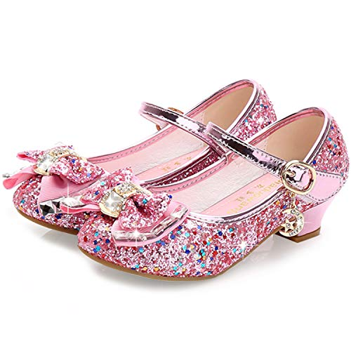 Waloka Pink Mary Jane Glitter Shoes for Girls Size 13 Wedding Party Wear High Heels Shoes for Girls Wedding 8 Yr Cosplay Low Heeled Princess Little Kid Sequin Bridesmaid 13 Girl Dress Shoes (Pink 33) -