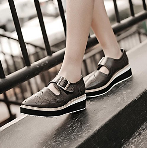 zapatos para muffins pesada de fondo para ayudar a los zapatos bajos de la hebilla de correa de ascensor resorte mujeres de los zapatos zapatos huecos Sra. , US6 / EU36 / UK4 / CN36