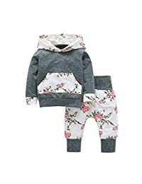 Baby Girl 2PCS Clothing Set Hoodie Tops Cotton Pants Cute Autumn Floral Clothing Set