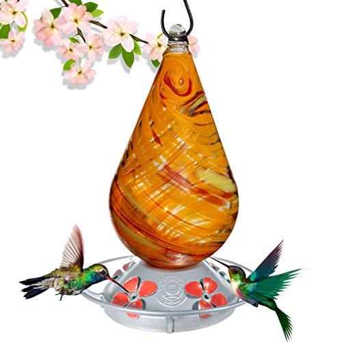 (Grateful Gnome - Hummingbird Feeder - Hand Blown Glass - Red and Orange Twist)
