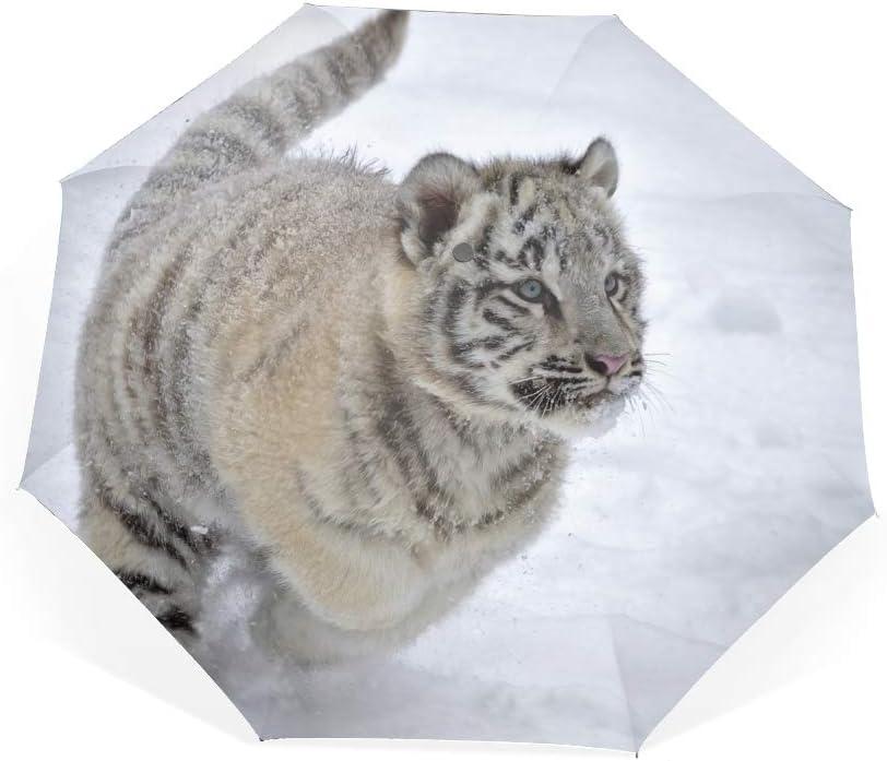 Compact Umbrella,Tiger Snow Albino Winter Run Automatic Folding Travel Umbrella, Ergonomic Non-Slip Handle, Auto Open/Close