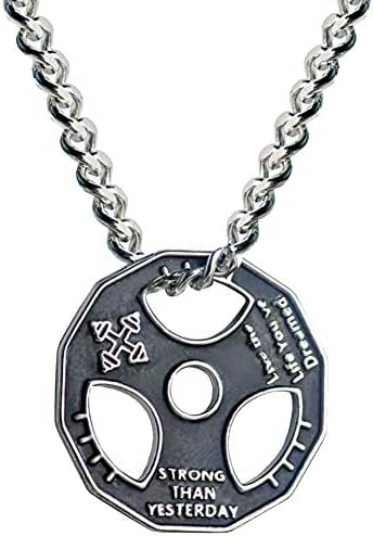 Fitness dumbbell weight plate barbell chain pendant stainless steel necklace