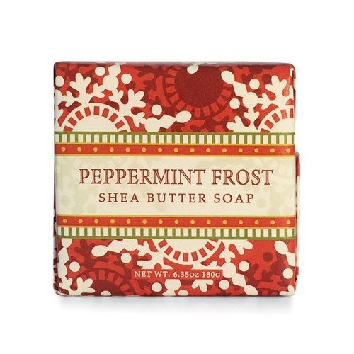 Shea Butter Vegetable Soaps - Greenwich Bay Peppermint Frost Shea Butter Soap - Enriched with Peppermint Oil & Shea Butter - 6.35 Oz Holiday Vegetable Soap Bar