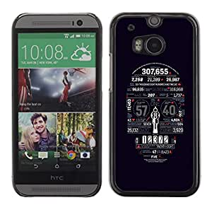LECELL -- Funda protectora / Cubierta / Piel For HTC One M8 -- Death Statistics Skull Typography --