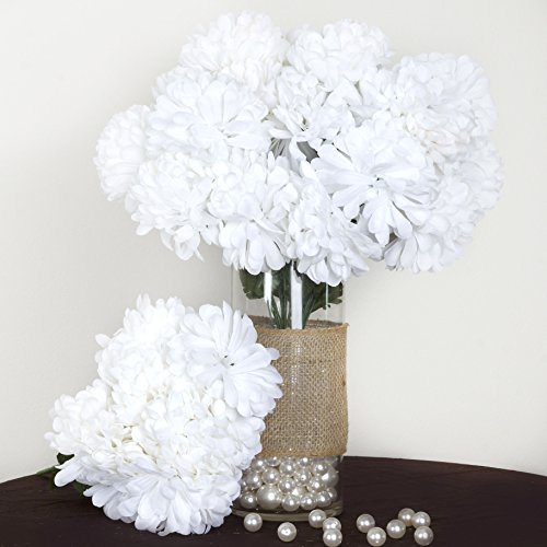 Efavormart 56 Large Chrysanthemum Mums Ballsfor DIY Wedding Bouquets Centerpieces Party Home Decorations - 4 Bushes - White
