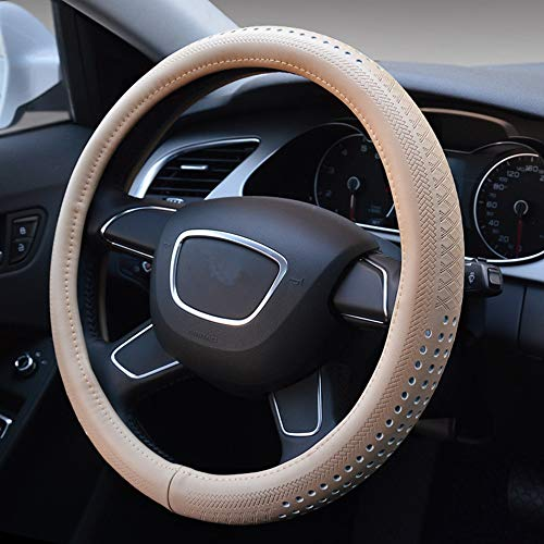 GUVDYJ Steering Cover 38cm Luxury Black Genuine Leather Car Steering Wheel Cover Breathable Auto Styling for Volkswagen Bora Audi A4L Buick,Beige from GUVDYJ