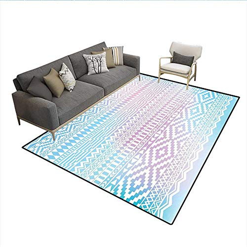 Carpet,Geometric Shapes with Triangles Rhombuses and Herringbone Zigzag Stripes,Non Slip Rug Pad,Lilac and Pale Blue 6'6