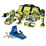 Ryobi P884 ONE+ 18-Volt Lithium-Ion Ultimate Combo Kit (6-Tool) with Kreg Jig K4 Pocket-Hole System Bundle