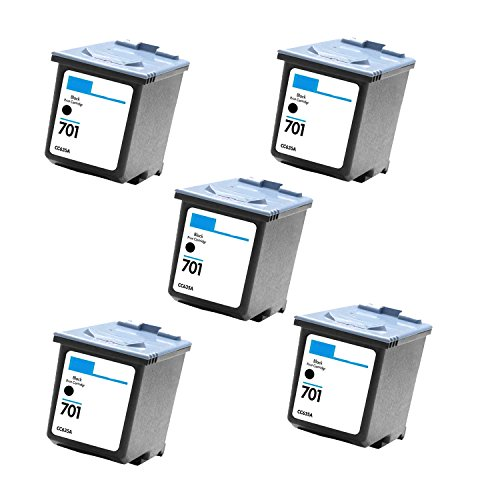 5 Pack Cc635a HP 701 Black Compatible Inkjet Cartridge for Hp 701 Hp Fax 640, 650, 2140 (Inkjet 2140 Fax)
