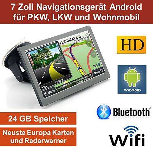 17, 8cm 7' Zoll, Android Navigationsgerä t, Navigation, WiFi, Neuste EU Karten, Radarwarner, Tablet PC, Internet, Wohnmobil, LKW, PKW, 24GB Speicher, HD, AV-IN, Bluetooth, Kostenlose Kartenupdate, GPS 8cm 7 Zoll Elebest AN-7444
