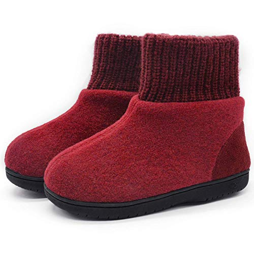 Zigzagger Womens Girls Wool-Like Blend Bootie Slippers Polar Fleece Lining Adjustable Knit Collar House Shoes Wine 11 M US -