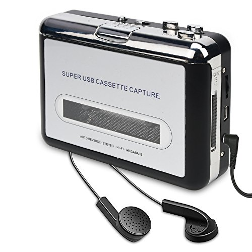 ayer-Cassette Tape To MP3 CD Converter Via USB,Portable Cassette Tape Converter Captures MP3 Audio Music,Convert Walkman Tape Cassette To MP3 Format, Compatible With Laptop and PC ()
