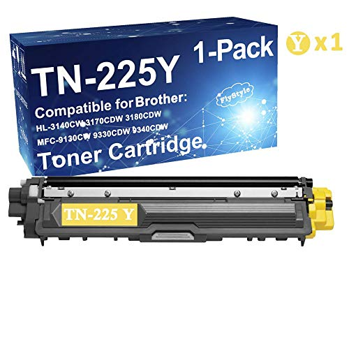 FlyStyle 1-Pack High Yield Compatible TN-225 TN225Y Toner Cartridge Replacement for Brother HL-3140CW Printer (with Chip) ()