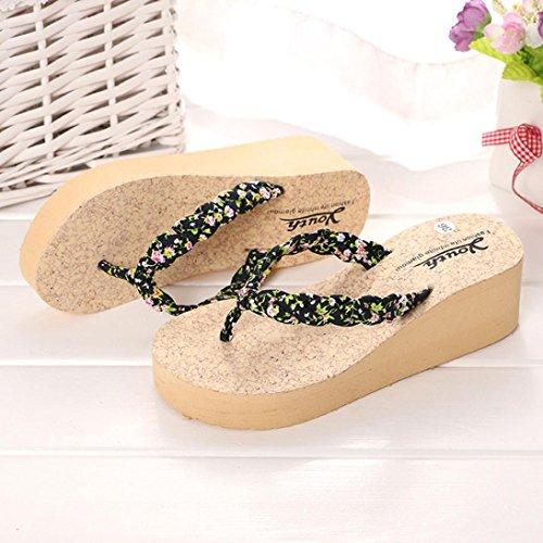 Slipper Wedges Sandales Flops Flip Noir Gladiator Tongs OverDose De Femmes Plage Floral Chaussures Sandales qzd5z7wR