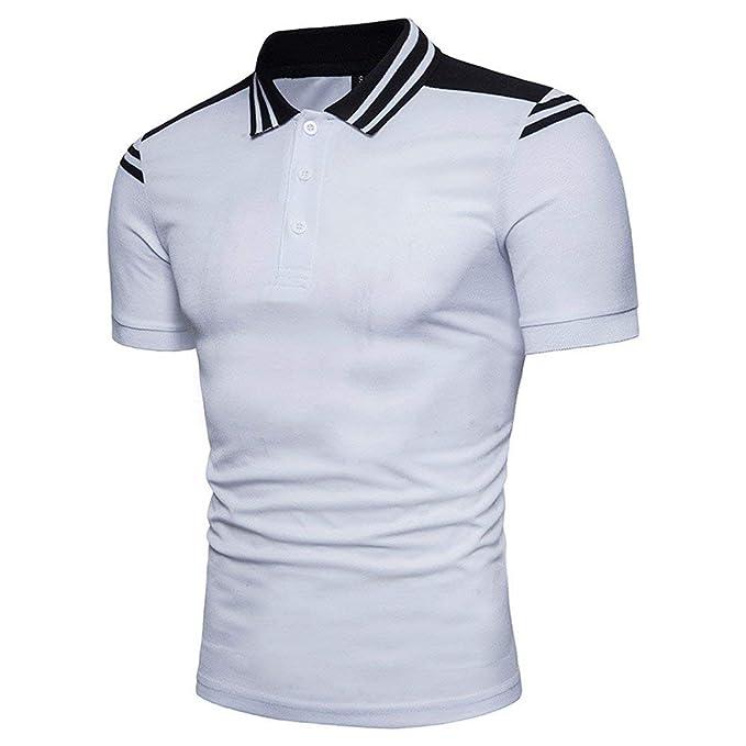POLP Polos Hombre Verano 2019 Camisa de Rayas con botón Cuello de Solapa  Blusa Casual de 1499b2b972a