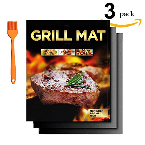BBQ Grill Mat - Set of 3 (16 x 13 Inch) Durable, Non-Stick Grilling Mats, Heat Resistant and Dishwasher Safe ,Use on Gas, Charcoal, Electric BBQ Grills . with Basting Brush ()