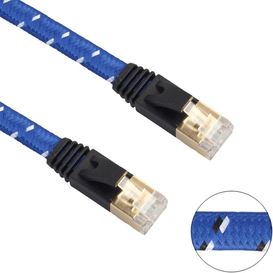 Connectors 3M 5M 10M 15M CAT-7 10 Gigabit Ethernet Ultra Flat Patch Cable Cord Wire Line Knit Weave Network Jumper Shielded RJ45 Connectors Cable Length: 5M