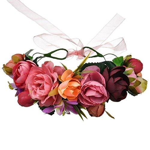 Orange Purple Flowers - Vividsun Flower Crown Floral Headpiece Festival Wedding Hair Wreath Floral Crown (A)