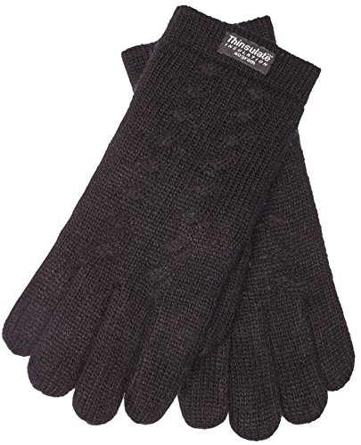 EEM Ladies knitted gloves FREYA with plait pattern, Thinsulate thermal lining, 100% Wool, black - Womens Thinsulate Thermal
