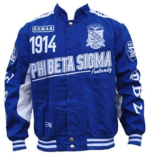 Phi Beta Sigma Fraternity Mens Racing Twill Jacket Large Royal Blue