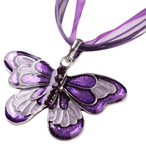 IEason Women Fashion Jewelry Enamel Butterfly Crystal Silver Pendant Necklace Chain (Butterfly Purple Pendant)