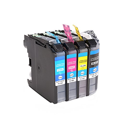 Sairun LC223 LC221 Ink Cartridge Compatible with for brother J4120DW J4420DW J4620DW 4625DW J5320DW J5620DW J5625DW J5720DW J562DW, 4Pack?BK/C/M/Y)