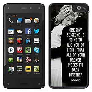 // PHONE CASE GIFT // Duro Estuche protector PC Cáscara Plástico Carcasa Funda Hard Protective Case for Amazon Fire Phone / love heartbreaks family black white /