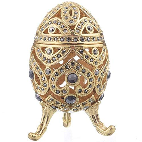- Keren Kopal Gold Faberge Egg Blue Crystals Trinket Box Collectors Egg Decorated Swarovski Crystals Russian Egg