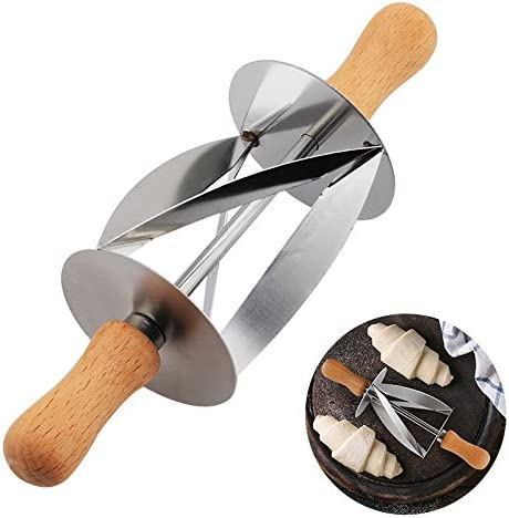 Amazon.com: Vivona Bakeware & Accessories - Croissant Bread Stainless Steel Rolling Cutter For Making Croissant Bread Wheel Dough Pastry Knife Wooden Handle Baking Kitchen Knife: Kitchen & Dining