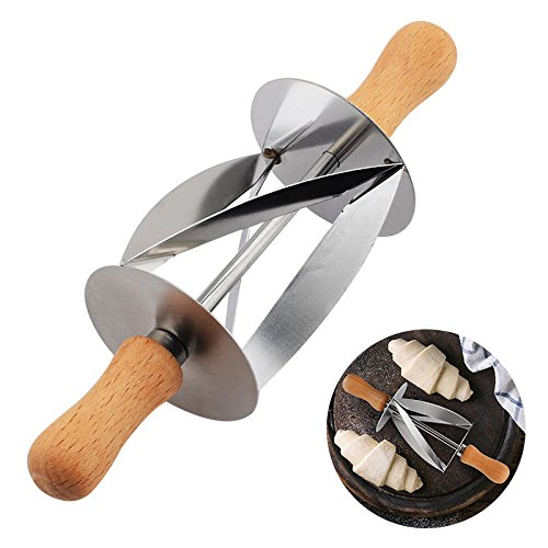 Disumos Croissant Bread Rolling Cutter Stainless Steel Knife Bread Wheel Dough Pastry Knife Wooden Handle