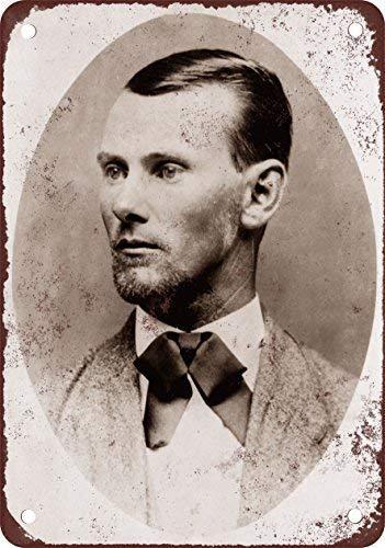 (1882 Jesse James Portrait Vintage Look Reproduction Metal Sign Warning Saftey Sign Pre-drilled Holes for Easy Mounting)