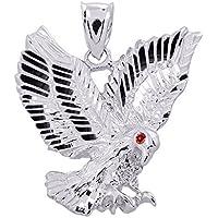 High Polish 925 Sterling Silver Landing Eagle Necklace Pendant