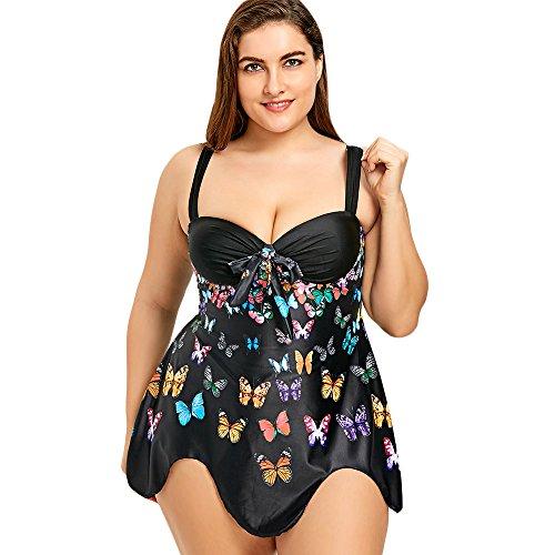 iDeesse Women's Plus Size Empire Waist Bowknot Butterfly Scalloped Tankini Set (Black, 3XL)