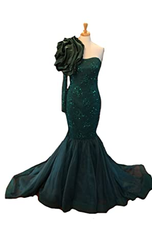 XPLE Fitted Mermaid Hand-Beaded Couture Evening Gown One Shoulder Long Sleeve Evening Dresses Emerald
