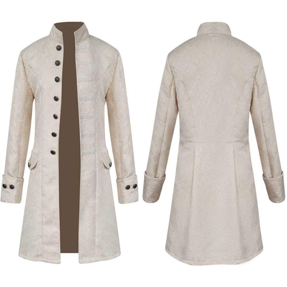 Baigoods Men Winter Warm Vintage Tailcoat Jacket Long Button Overcoat Outwear Buttons Coat Baigoods_004989